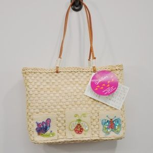 Quacker Factory Sequin Straw Bag - Butterfly